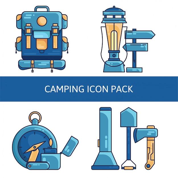 Camping icon pack Premium Vektoren