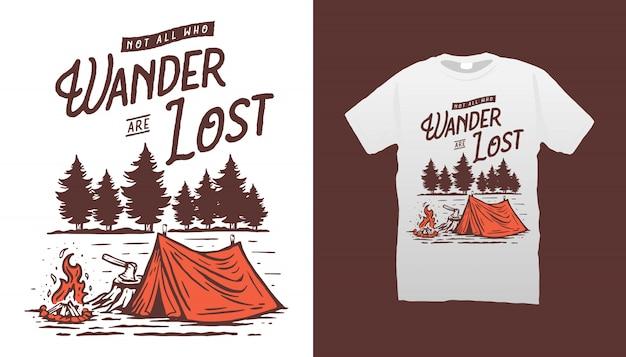 Camping illustration t-shirt design Premium Vektoren