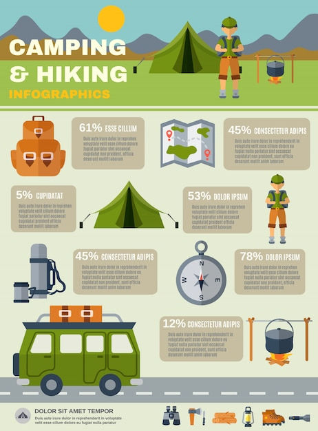 Camping infografiken set Kostenlosen Vektoren