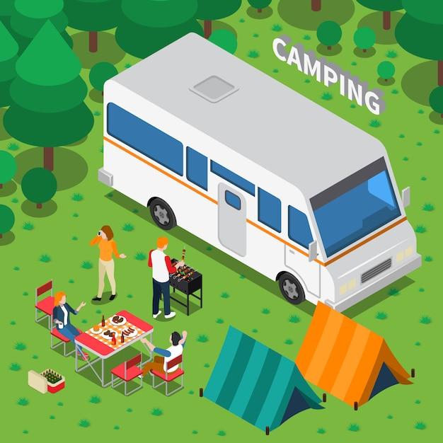 Camping isometrische zusammensetzung Kostenlosen Vektoren