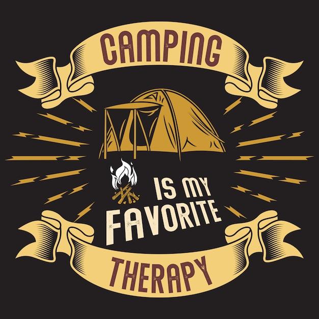 Camping ist meine lieblingstherapie Premium Vektoren