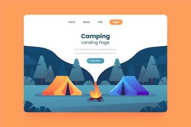 Camping landing page konzept Kostenlosen Vektoren