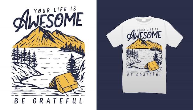 Camping leben t-shirt Premium Vektoren