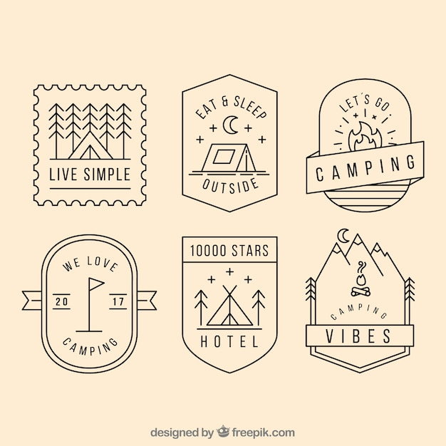 Camping logo kollektion Kostenlosen Vektoren