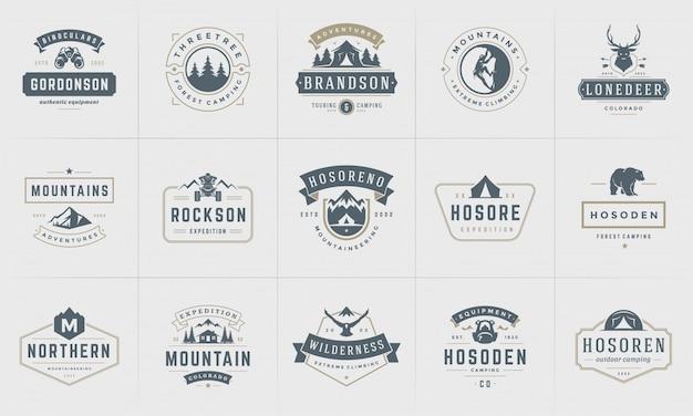Camping logos und abzeichen vorlagen elemente und silhouetten gesetzt Premium Vektoren