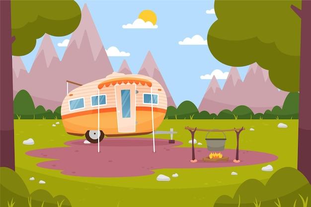 Camping mit einem wohnwagen Premium Vektoren