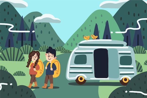 Camping mit einer karawanenillustration mit mädchen und jungen Premium Vektoren