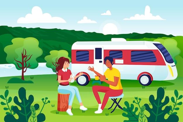 Camping mit einer karawanenillustration mit menschen Kostenlosen Vektoren