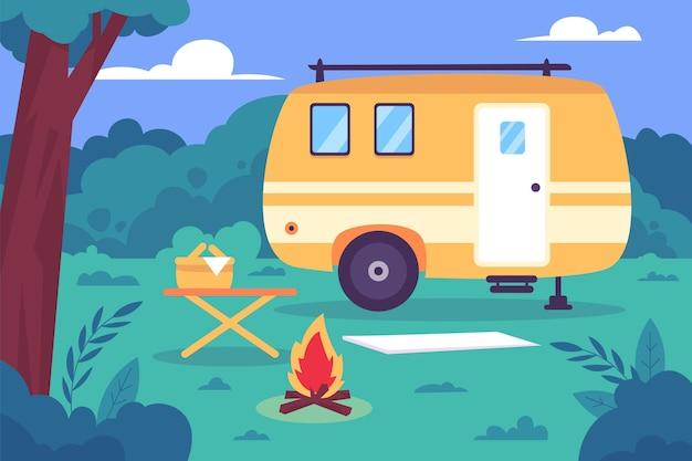 Camping mit einer karawanenillustration Kostenlosen Vektoren