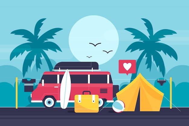 Camping mit einer karawanenillustration Premium Vektoren