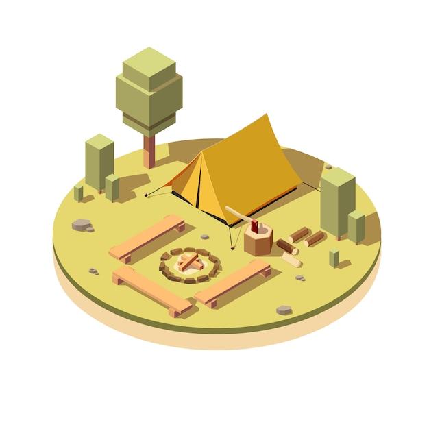 Camping mit lagerfeuer-symbol Premium Vektoren