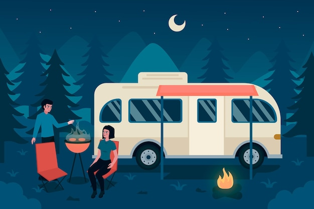 Camping mit wohnwagen-design Kostenlosen Vektoren