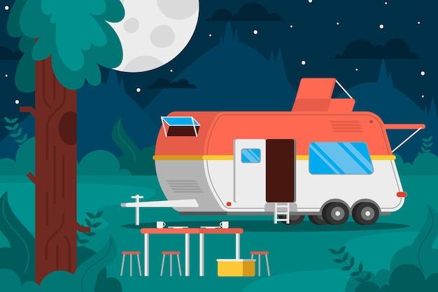 Camping mit wohnwagenkonzept Premium Vektoren