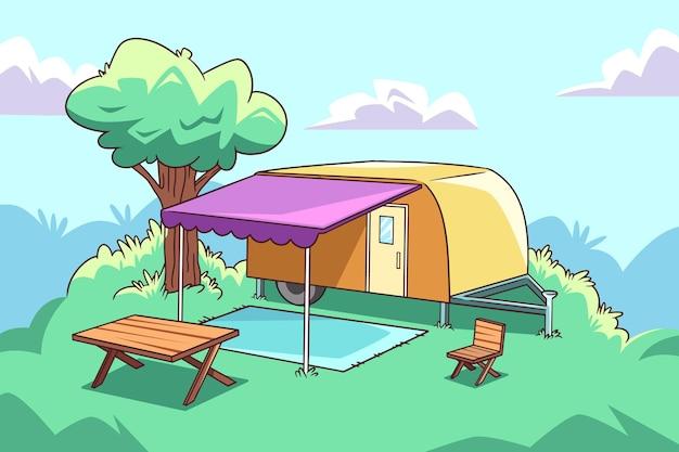Camping mit wohnwagenkonzept Kostenlosen Vektoren