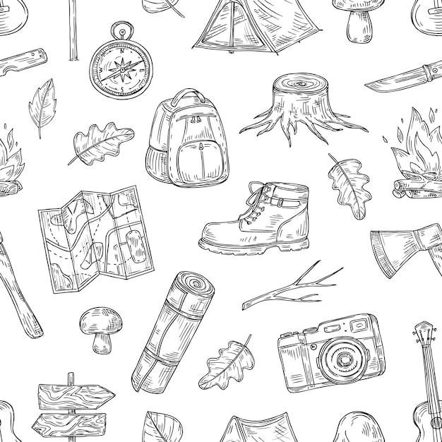 Camping muster. wandern, familiencamp in naturholz. scout outdoor adventure sketch gliederung nahtlose textur Premium Vektoren