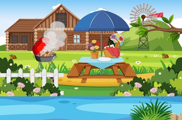 Camping oder picknick im naturpark tagsüber Premium Vektoren