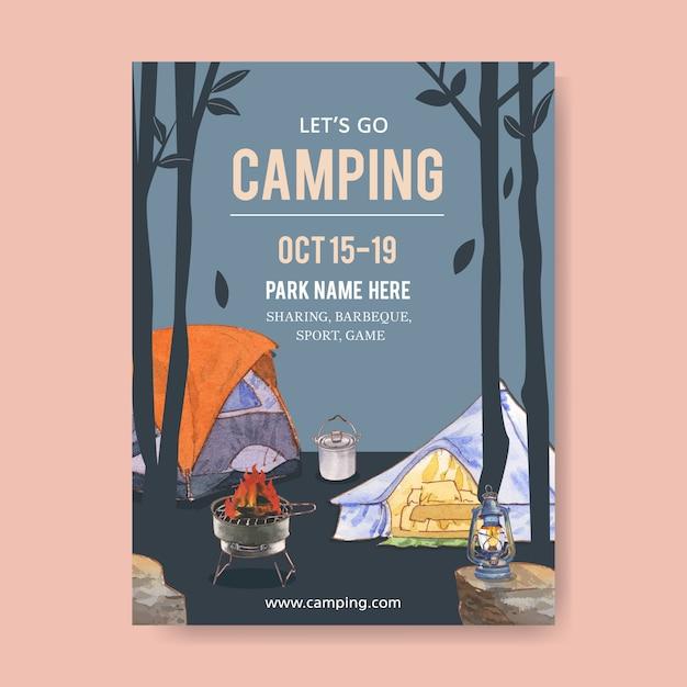 Camping poster mit zelt, topf, grillofen und laterne Kostenlosen Vektoren