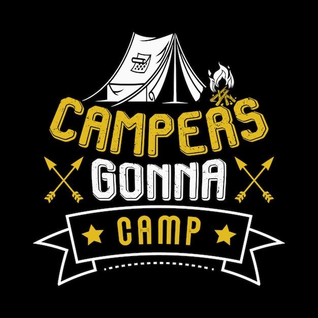 Camping sprüche und zitate Premium Vektoren