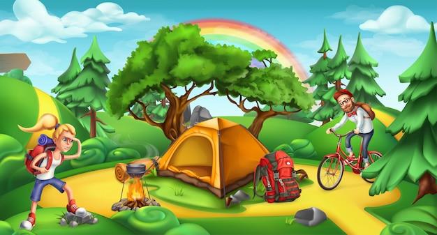 Camping- und abenteuerzeit. anorama der naturlandschaft 3d Premium Vektoren