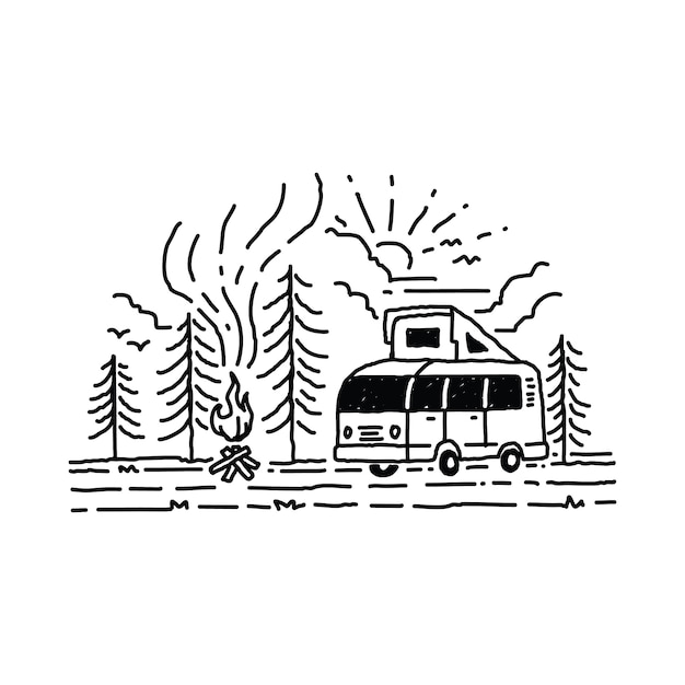 Camping van mountain abbildung Premium Vektoren