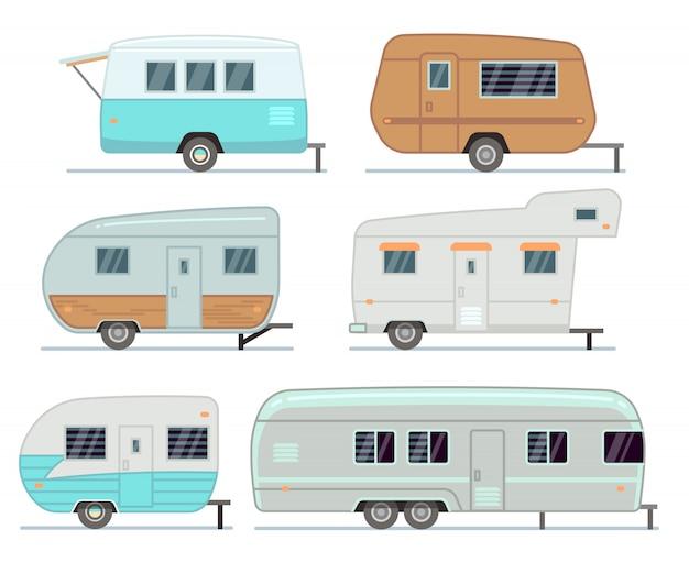 Campinganhänger rv, reisemobil, wohnwagenvektorsatz lokalisiert Premium Vektoren