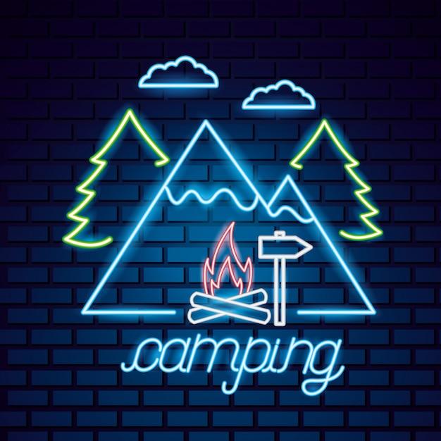 Campingausflug im neonstil Kostenlosen Vektoren
