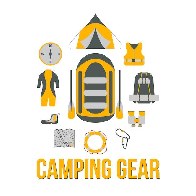 Campingausrüstung. tourismusausrüstung. river boat trip web-elemente. vektor-illustration Premium Vektoren