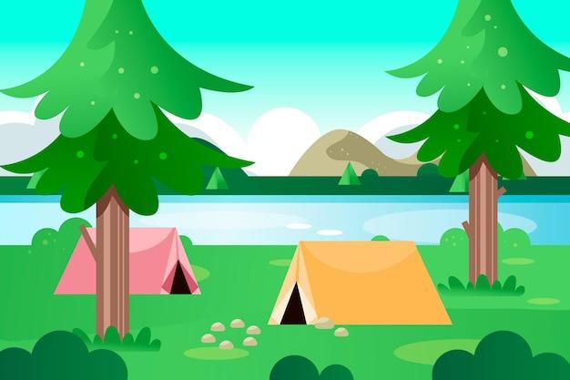 Campingbereich landschaftsillustration mit zelten und see Kostenlosen Vektoren