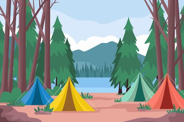 Campingbereich landschaftsillustration mit zelten und wald Kostenlosen Vektoren