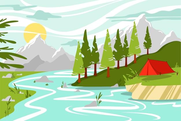 Campinggebiet landschaft Premium Vektoren