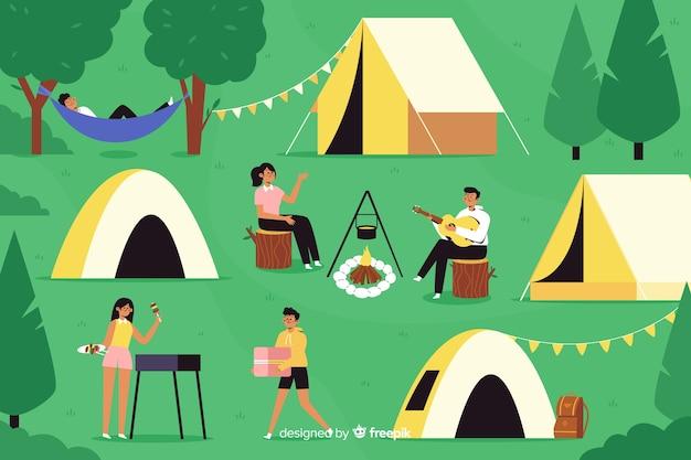 Campingleute, die ein wundervolles wochenende haben Kostenlosen Vektoren