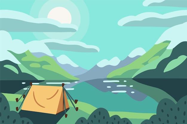 Campingplatz landschaft mit see und zelt Premium Vektoren