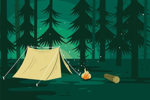 Campingplatz landschaft mit wald Kostenlosen Vektoren