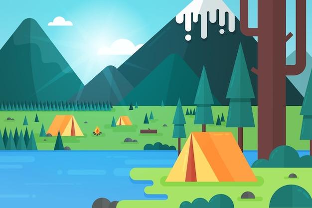Campingplatz landschaft mit zelt und bäumen Kostenlosen Vektoren