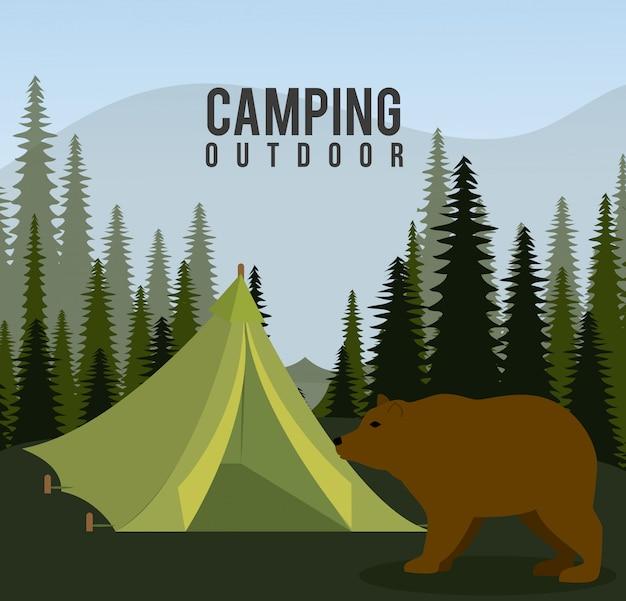 Campingreisen und urlaub. Kostenlosen Vektoren