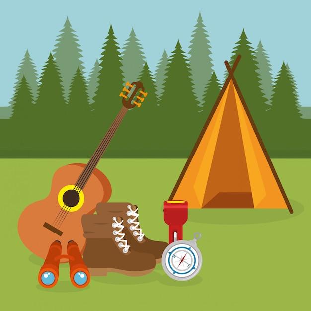 Campingzone mit zeltszene Kostenlosen Vektoren