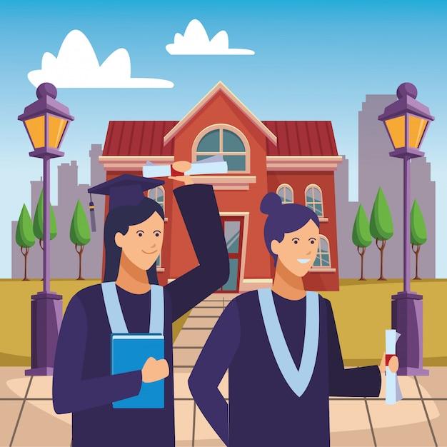 Campus abschlussfeier mädchen Premium Vektoren