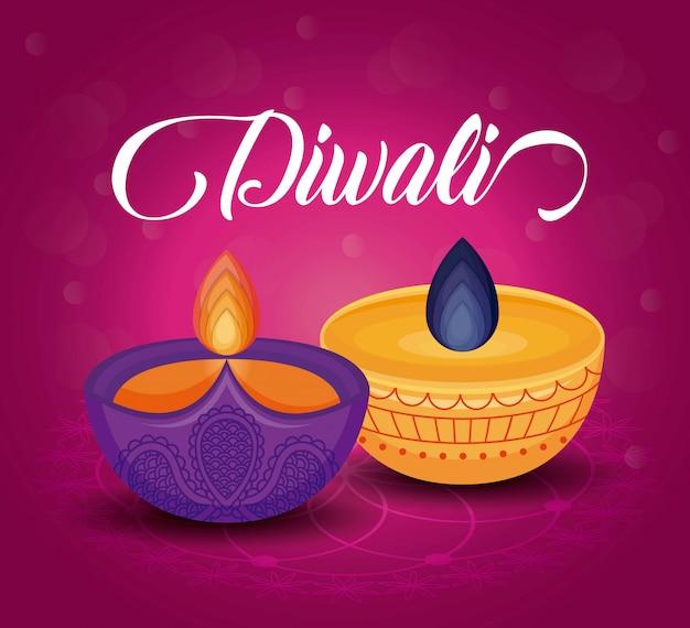 Candles diwali festival Kostenlosen Vektoren