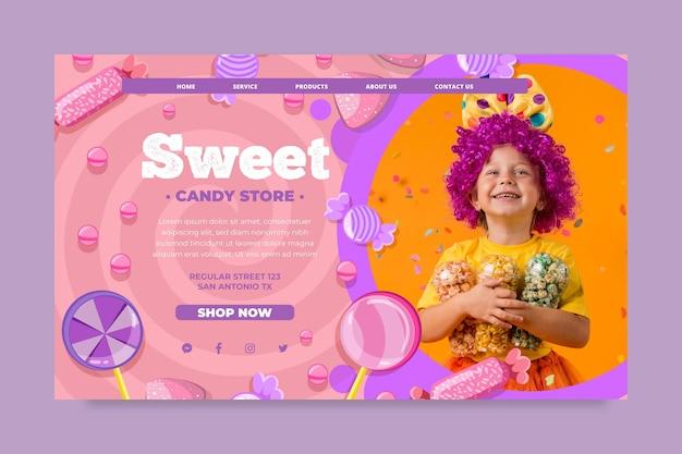 Candy landing page vorlage mit kind Kostenlosen Vektoren