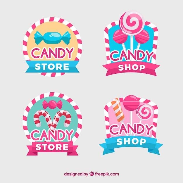 Candy shop logos sammlung für unternehmen Kostenlosen Vektoren