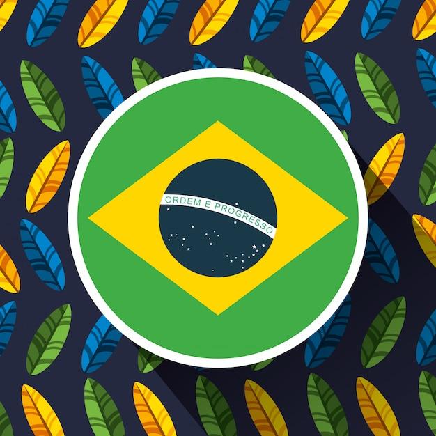 Canival der rio brasilianischen feier mit flaggenillustration Kostenlosen Vektoren