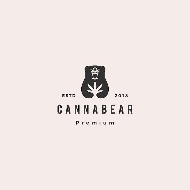 Cannabear cannabis bär logo hipster retro-vintage Premium Vektoren