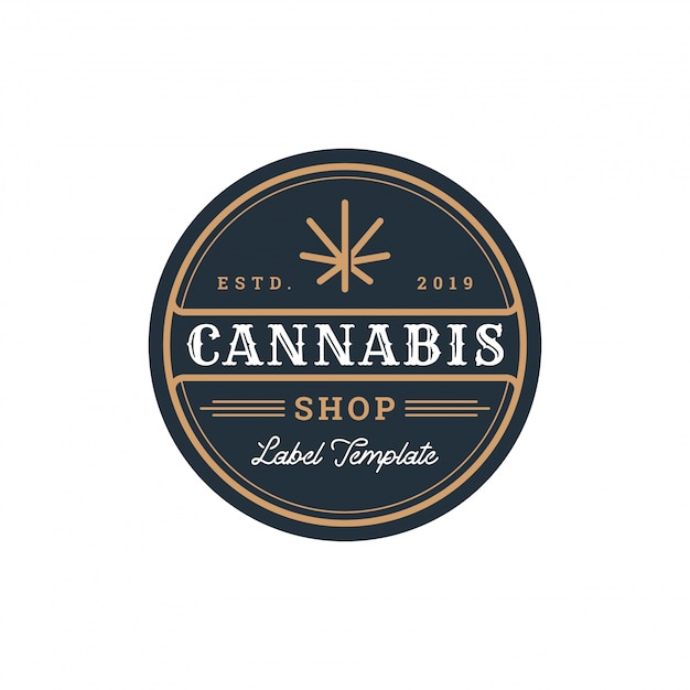 Cannabis-abzeichen Premium Vektoren