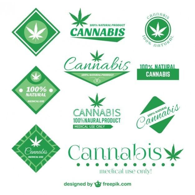 Cannabis badge set Kostenlosen Vektoren