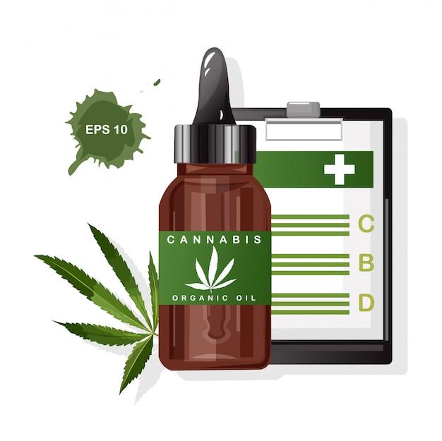 Cannabis-bio-öl mit marihuana-blättern. cbd-vorteile in der zwischenablage Kostenlosen Vektoren