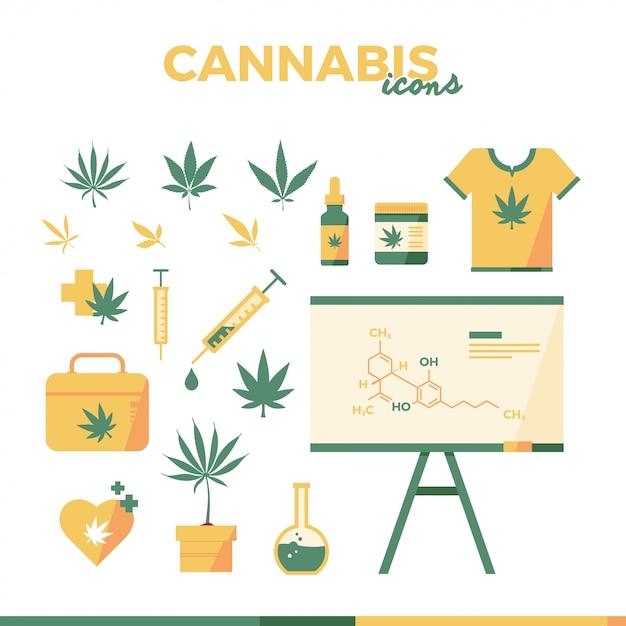 Cannabis flache icon illustration Premium Vektoren