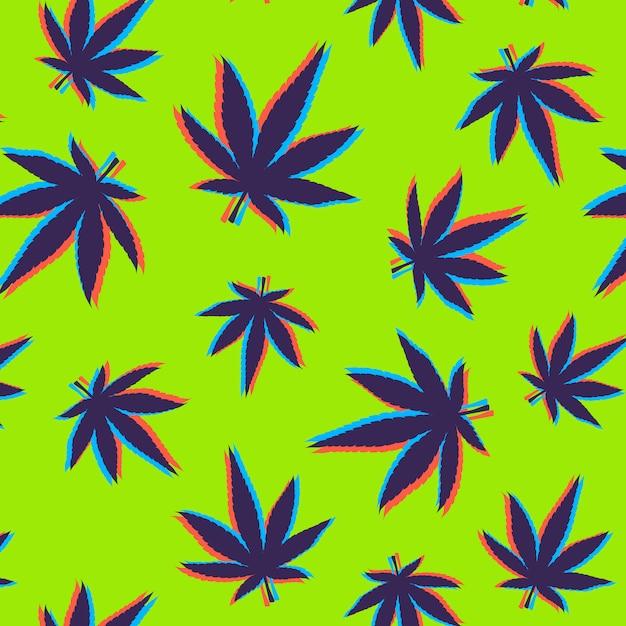 Cannabis hinterlässt muster mit glitch-effekt Kostenlosen Vektoren