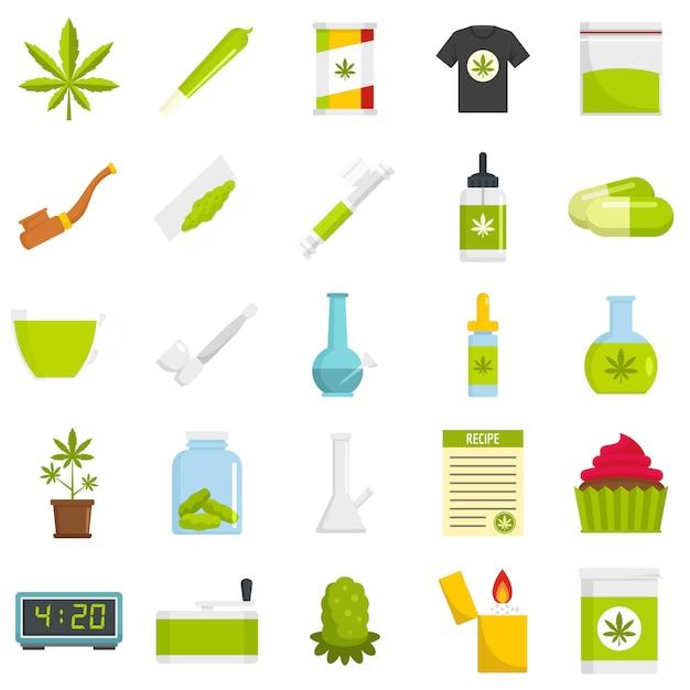 Cannabis-icon-set Premium Vektoren