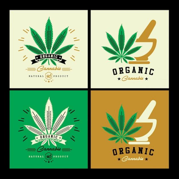 Cannabis-logo Premium Vektoren