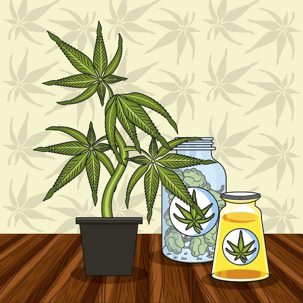 Cannabis medizinisches konzept Premium Vektoren